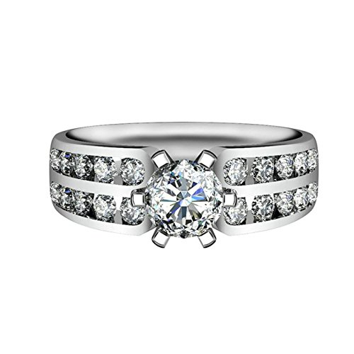 ANAZOZ Women Wedding Rings S925 Sterling Silver 6.5MM Round Cut 6 Prongs Cubic Zirconia Wedding Ring Gold for Her Size 5