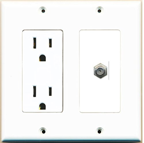 - RiteAV - 15 Amp Power Outlet and 1 Port Coax Cable TV- F-Type Decora Type Wall Plate - White