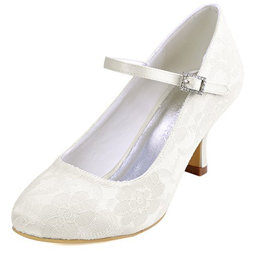 ElegantPark EP1085 Women Mary Jane Pumps Closed Toe Mid Heel Lace Wedding Bridal Shoes Ivory US 8