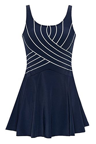 URqvick Women's One Piece Swimdress Solid Push Up Skirtini Cover Up Vintage Swimsuit Navy