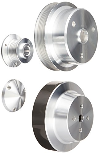 (March Performance 4465 Power and Amp Series Clear Powdercoat Aluminum Pulley System - Set of 3 )