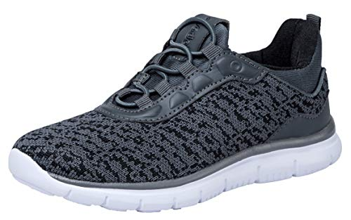 Boys Gym Shoes (COODO CD6004 Boy's Lightweight Breathable Sneakers Easy Walk Casual Sport Shoes Dark Grey-2)