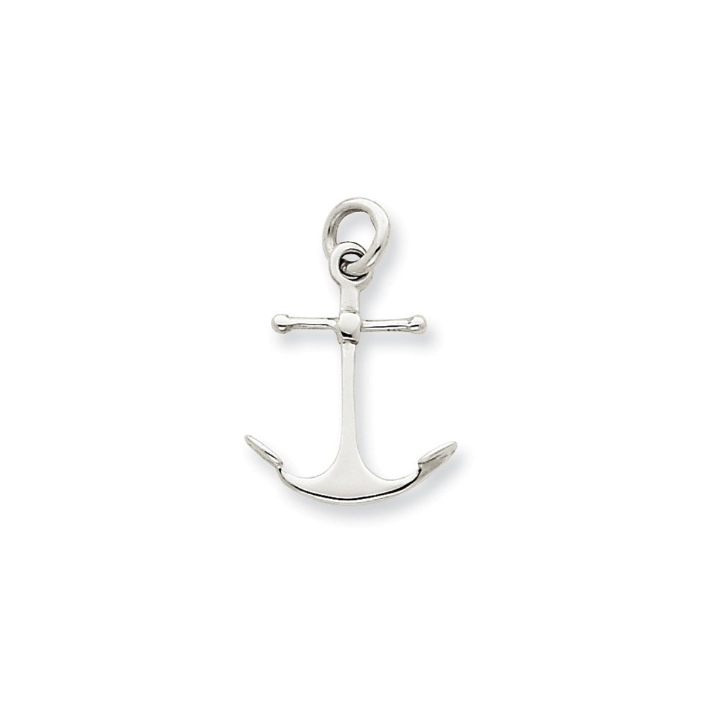 14k White Gold Solid Polished 3-Dimensional Anchor Charm - Measures 20.2x14mm
