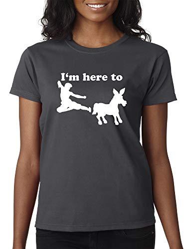 Trendy USA 1229 - Women's T-Shirt I'm Here to Kick Ass Karate Donkey XL Charcoal