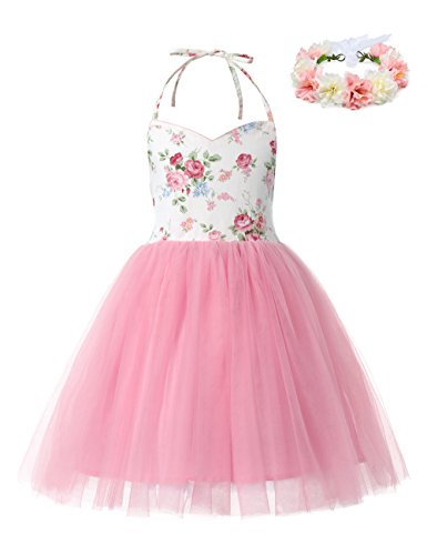 aibeiboutique Little Girls Pink Tutu Dress Tulle Birthday Wedding Party Toddler Infant Dress for Special Occasion (3 Years)]()
