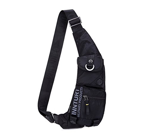 Kawei Knight Nylon Sling Bag Messenger Backpack Fanny Pack Black (Multi Messenger)