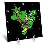 3dRose Sven Herkenrath - Country - Illustration of Brazil with Symbols of The Country on Black Background - 6x6 Desk Clock (dc_290719_1)