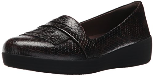FitFlop Women's Fringey Sneakerloafer Ballet Flat, Chocolate Snake, 6 M US Ballet Flats Chocolate