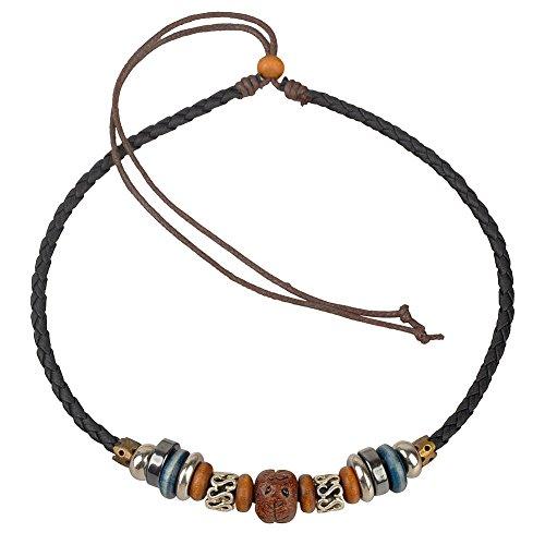 Ancient Tribe Adjustable Hemp Genuine Leather Beads Choker - Black Hemp Necklace
