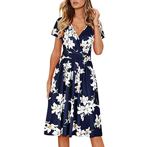 Women's Summer Beach Dress Floral Print Short Sleeve Evening Party Club Dress Blue