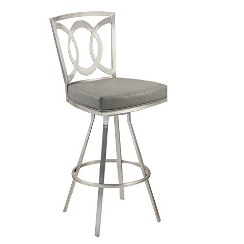 """Armen Living LCDR26SWBAGRB201 Drake 26"""" Counter Height Swivel Barstool in Grey and Brushed Stainless Steel Finish"""