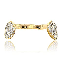 18K Yellow Gold Diamond Grillz 0.8 Ctw