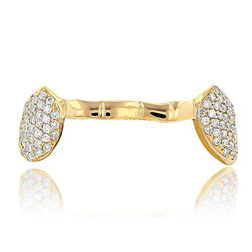 (18K Unique Diamond Grillz Jewelry 0.8 Ctw (Yellow Gold))