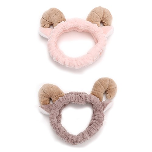 Plush Sheep Horn Ears Headband Makeup Shower Wash Face Sport Hair Band (Pack of (Sheep Costume Makeup)