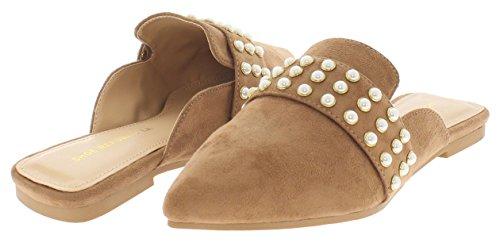 Shoe Republic LA Pearl Studded Loafer Mule jory Taupe