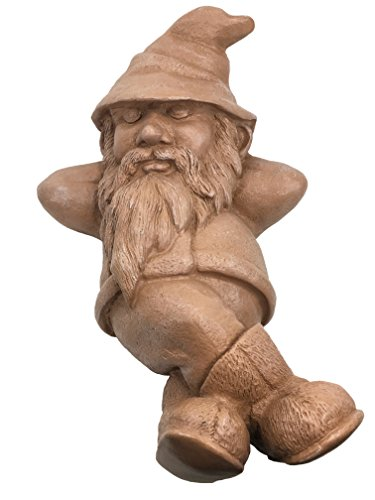 Lanrong Toys Classic Garden Gnome Relaxing in the Sunshine Statue-Terracotta (Handcrafted Home and Outdoor Garden Statue), 5.5-Inch