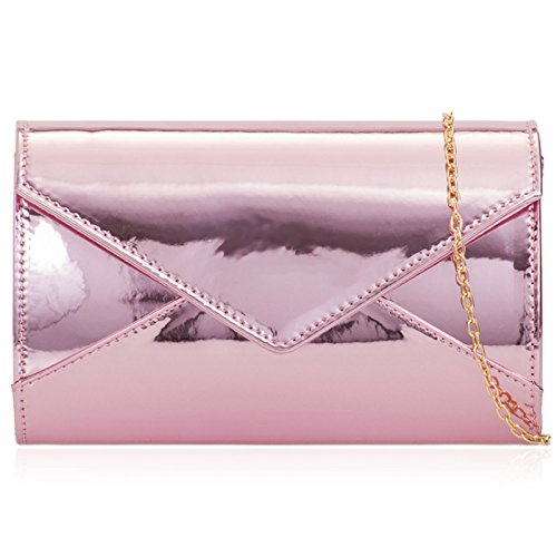 Clutch Party Evening Medium Envelope London Medium Prom Bags Patent Gloss Xardi Leather Ladies Pink Women q1pPqSt