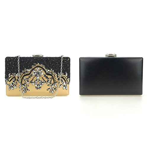 Clutch Wedding Senoow Bridal Wallet Bag Handmade Party Prom Purse Women Gold Bead Evening q8wXgwr