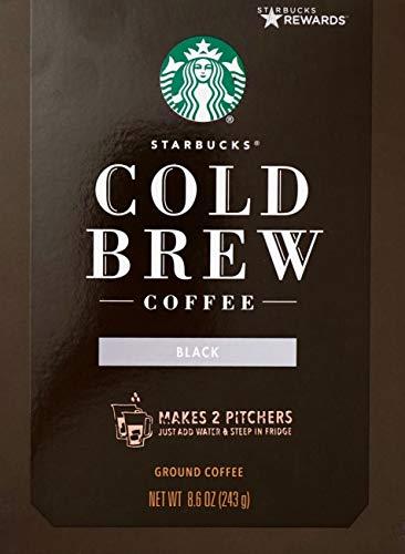 Starbucks Cold Brew Ground Coffee Medium-Roast, 8.6 Ounce, Makes 2 Pitchers (Starbucks Narino 70 Cold Brew Pitcher Packs)