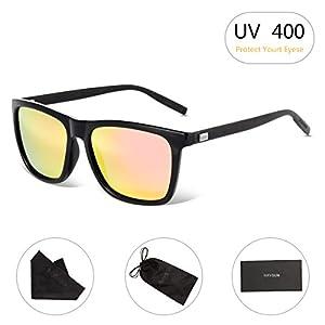Unisex Square Polarized Sunglasses RAYSUN Aluminum Temple Retro Driving Sun Glasses