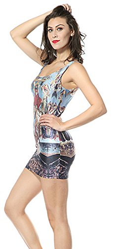 sexy gilet lasticit Femme jupe painting robe mince THENICE Tq4fUO