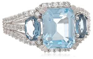 Sterling Silver, White Sapphire, Blue Topaz, and London Blue Topaz Ring, Size 6
