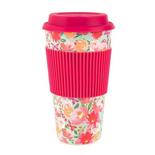 Cambridge Bamboo Large Flori Reusable Coffee Cup Travel Mug (Best Travel Coffee Mug Uk)