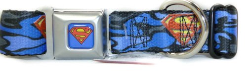 "Buckle-Down Seatbelt Buckle Dog Collar - Superman Shield Camo Blue - 1"" Wide - Fits 9-15"" Neck - Small"