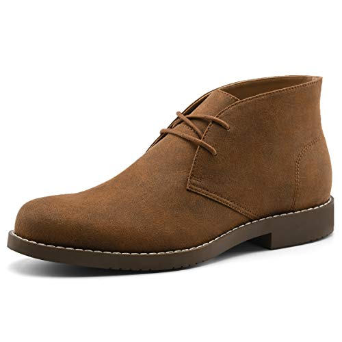 - GM RICH Men's Suede Chukka Boots Lace Up Ankle Desert Boots Casual Shoes Brown 8.5