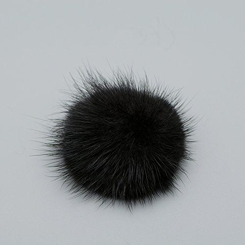 ZAKIA Women' Fluffy Mink Fur Pom Removable Shoe Clips Clutch Wedding Decoration Pack of 2 (Black) by ZAKIA (Image #4)