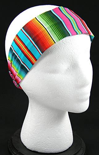 Fiesta Serape Stripe Fuschia headwrap/headband (Handmade in the United - Headwrap Stripes