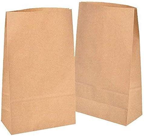 kgpack 50x Bolsas de Papel Kraft DIY 18 x 30 x 8 cm | Bolsas de Papel Kraft para niños | Calendario de adviento | Bolsa de Regalo de Fondo Plano | Bolsa de Papel de Alimentos