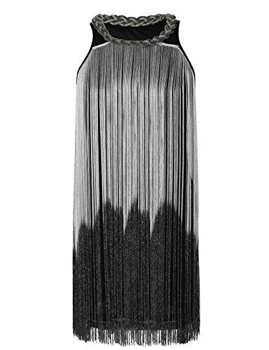 kayamiya Women's Art Deco 1920s Gatsby Fringe Prom Party Flapper Dress Ombre L Silver]()