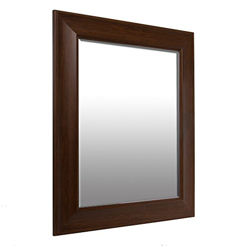 Patton Wall Decor 16×20 Traditional Dark Wood Beveled Wall Mirror