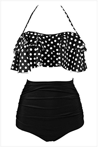 bafito Shi Ying Tube Top Halter Lace up Fleece Belted Breast Pad High Waist Swimsuit (Black White, XL) (Top Halter Belted)