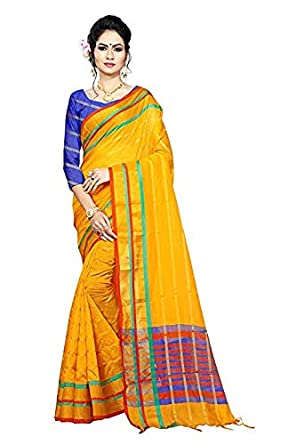 Trendy Store Women's Tant Pure Cotton Saree  Lining_Yellow_Marc_Light Yellow  Sarees
