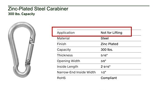 """(Pack of 2) Steel Snap Link Spring Hooks. 5/16"""" / 8 mm 3 1/4x1 1/2"""" Heavy Duty Multipurpose Carabiners"""