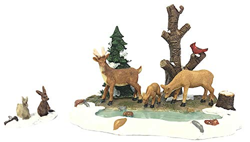 Miniature Winter Forest Animals - Deer, Pond, Trees Scene with Bunnies. Perfect Size for Christmas Village, Doll House, Fairy Garden, Home Decor - 2 Piece - Village Flamingos