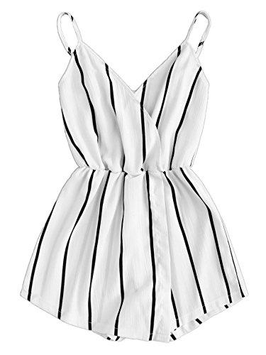 Verdusa Womens Vertical Striped V Neck Wrap Cami Jumpsuit Romper