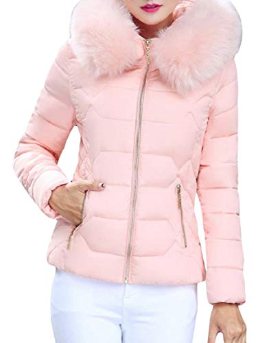 Womens Short Warm Zip Pink Mogogo Thickened Down Lightweight Fashion Hood Jacket adwZp0