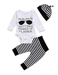 Newborn Baby Clothes Glasses Print Romper Bodysuit Tops Stripe Long Pants Hat Outfits