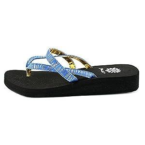 Yellow Box Women's Rhetta Thong Flip Flop Sandals, Blue, Size 8.5