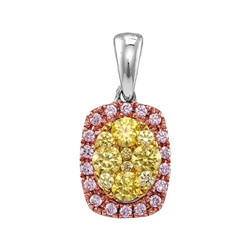 Jawa Jewelers 14kt White Gold Womens Round Yellow Pink Diamond Oval Frame Cluster Pendant 3/4 Cttw ()