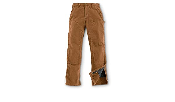 Amazoncom Carhartt B194 Quilt Lined Washed Duck Dungarees Brown