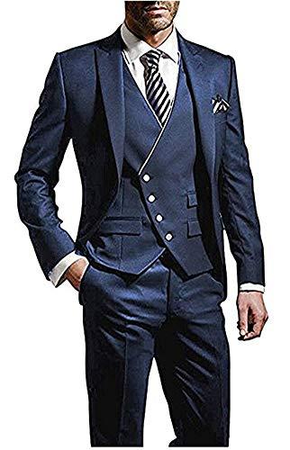 - Peak Lapel Men Suits Blue 3 Pieces Tailcoat Suits Wedding Suits Groom Tuxedos Blue 42 chest/36 waist