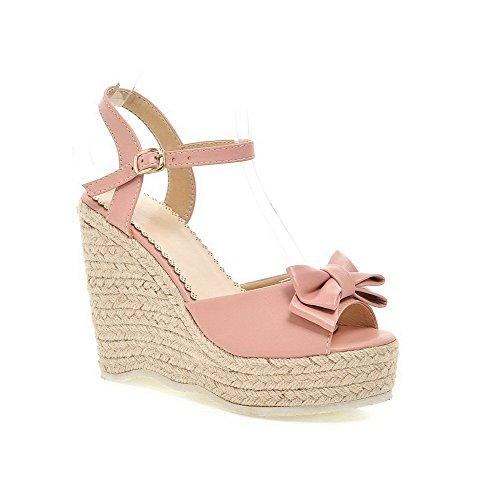 AllhqFashion Women's Solid PU High-Heels Open-Toe Buckle Sandals Pink sPMnvCix