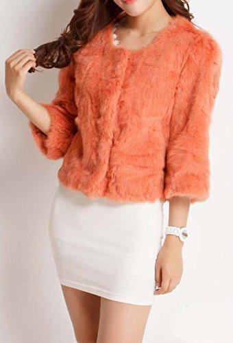 fourrure court femmes manteau de rex reel Helan lapin Orange aRwxqv00
