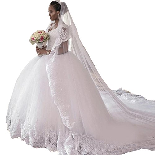 Cathedral Train Wedding Dress - 1