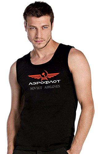 AEROFLOT SOVIET AIRLINES Russia schwarze Top Tank T-Shirt -2292