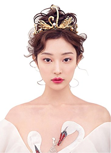 Homemade Princess Belle Costumes (Bella-Vogue Retro Gold Swan Crown Pearls bridal headdress marriage jewelry)